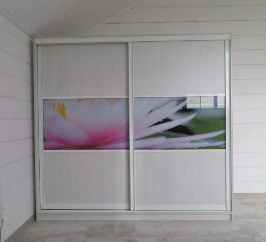 Белые шкафы-купе-Шкаф-купе с фотопечатью «Модель 129»-фото1