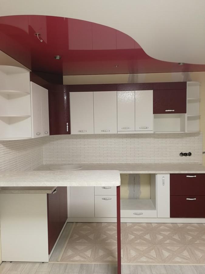 Белый кухонный гарнитур-Кухня МДФ в ПВХ «Модель 52»-фото2