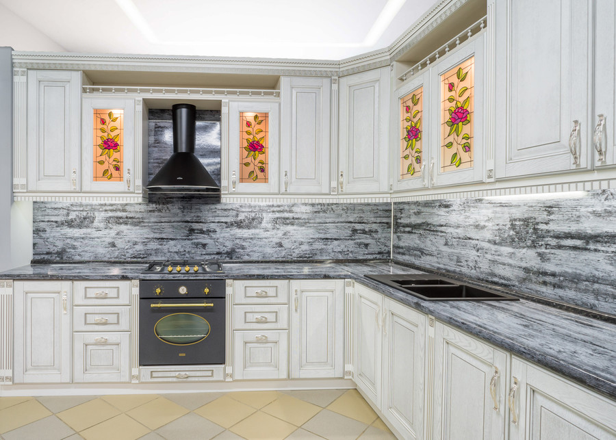 Белый кухонный гарнитур-Кухня МДФ в эмали «Модель 47»-фото2