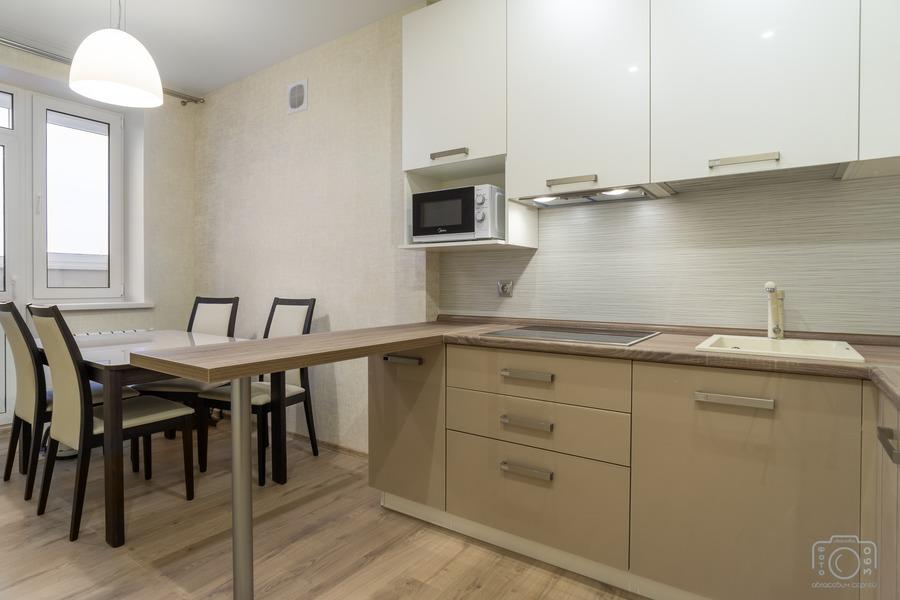 Бежевые кухни-Кухня из пластика «Модель 1»-фото3