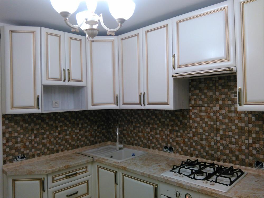 Белый кухонный гарнитур-Кухня МДФ в ПВХ «Модель 340»-фото1
