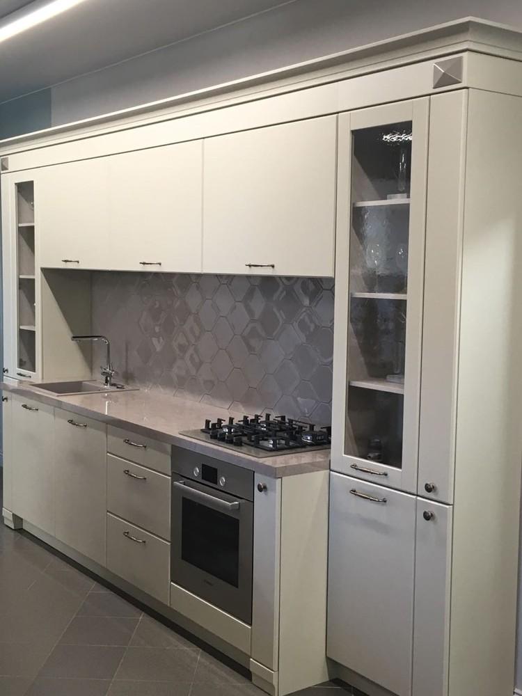 Белый кухонный гарнитур-Кухня МДФ в эмали «Модель 71»-фото1