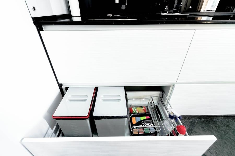 Белый кухонный гарнитур-Кухня из пластика «Модель 343»-фото4