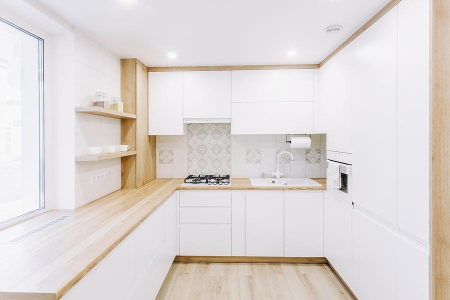 Белый кухонный гарнитур-Кухня МДФ в эмали «Модель 404»-фото1