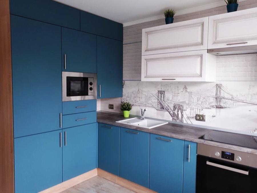 Белый кухонный гарнитур-Кухня из пластика «Модель 375»-фото1