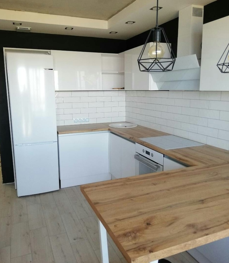 Белый кухонный гарнитур-Кухня МДФ в эмали «Модель 380»-фото2