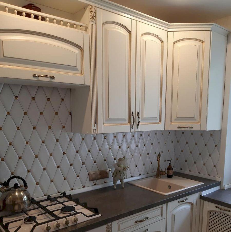 Белый кухонный гарнитур-Кухня МДФ в эмали «Модель 656»-фото2