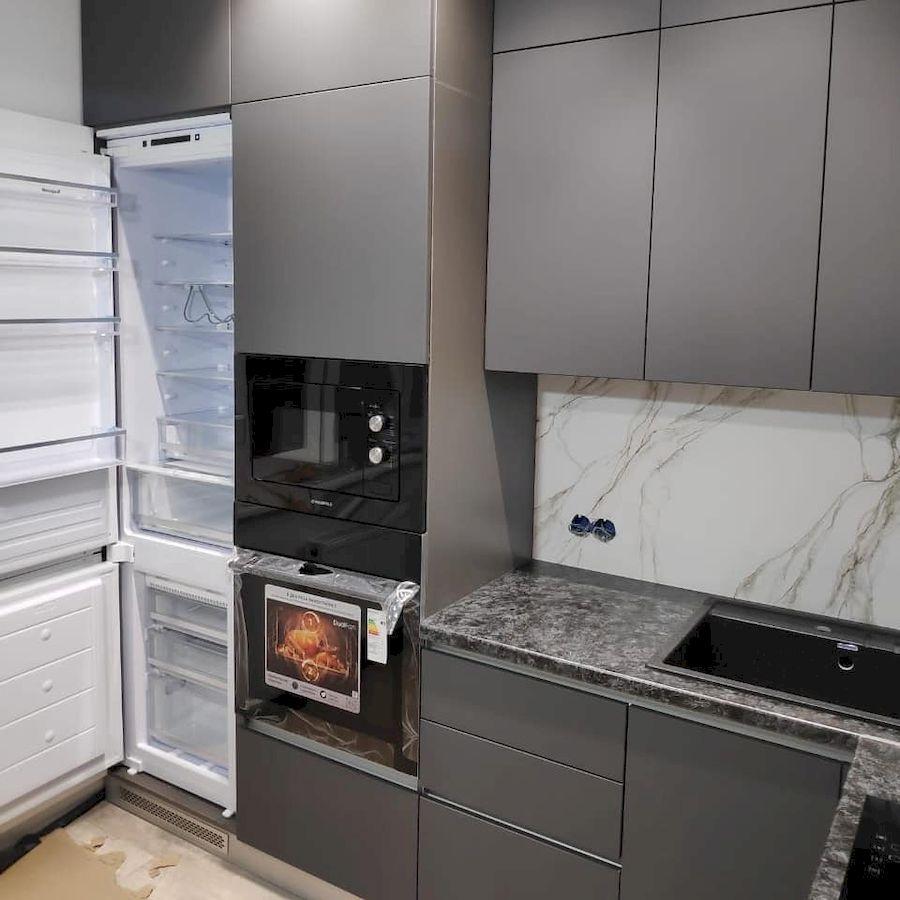 Высокие кухни под потолок-Кухня МДФ в ПВХ «Модель 673»-фото2