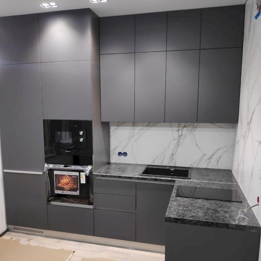 Высокие кухни под потолок-Кухня МДФ в ПВХ «Модель 673»-фото1