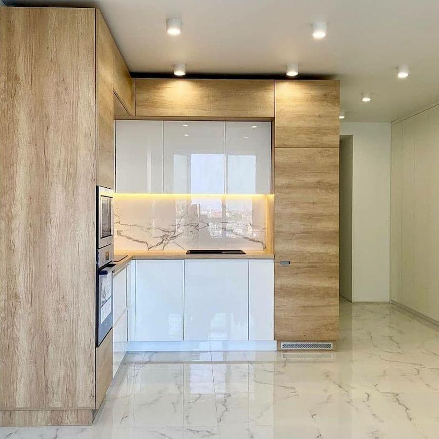 Белый кухонный гарнитур-Кухня из пластика «Модель 682»-фото2
