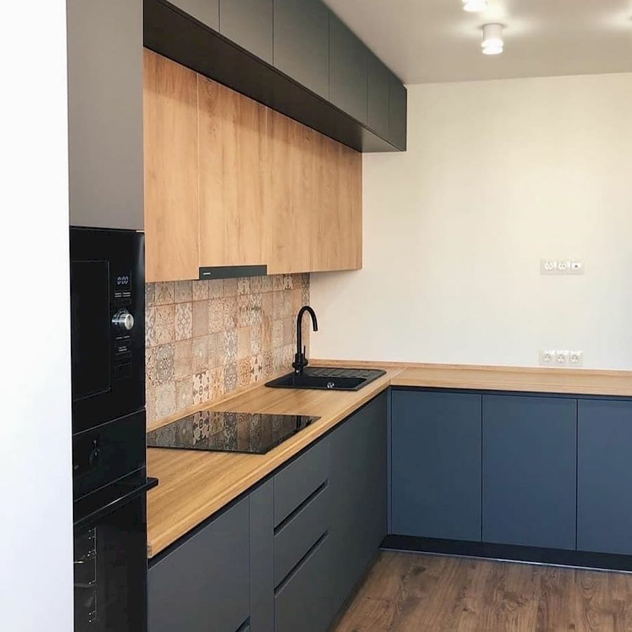 Высокие кухни под потолок-Кухня МДФ в эмали «Модель 676»-фото3