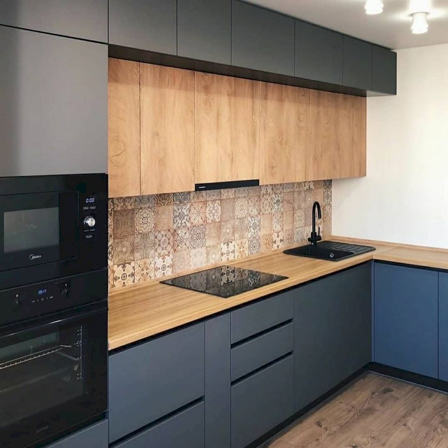Высокие кухни под потолок-Кухня МДФ в эмали «Модель 676»-фото1