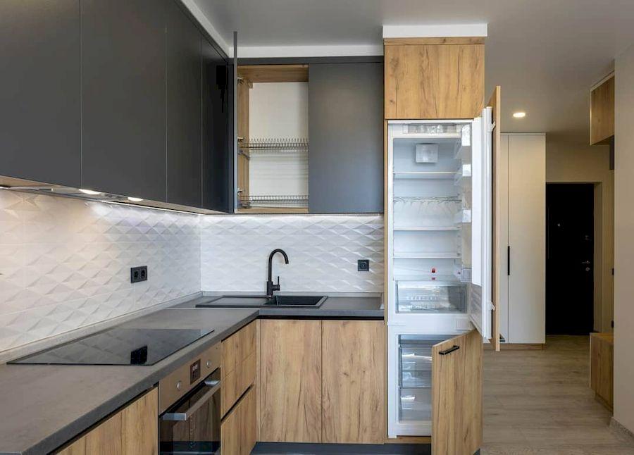 Высокие кухни под потолок-Кухня из пластика «Модель 671»-фото4