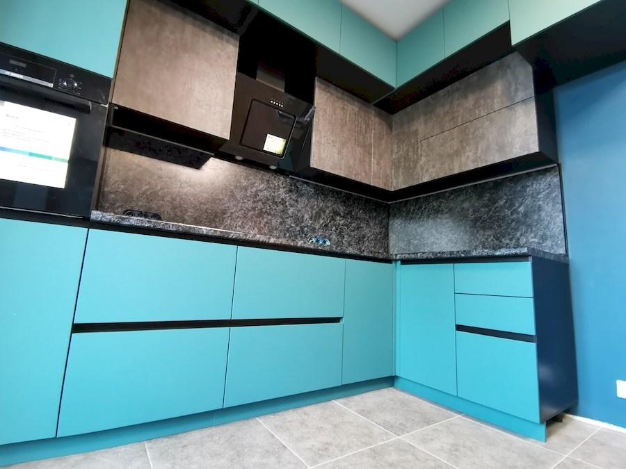Купить бирюзовую кухню-Кухня МДФ в ПВХ «Модель 576»-фото5